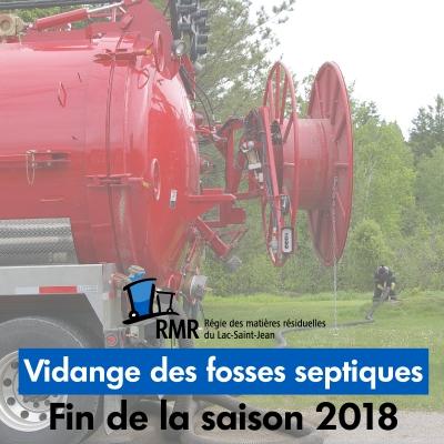 VIDANGE DES BOUES DE FOSSES SEPTIQUES : FIN DE LA SAISON 2018
