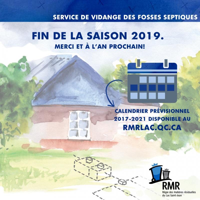 VIDANGE DES BOUES DE FOSSES SEPTIQUES : FIN DE LA SAISON 2019