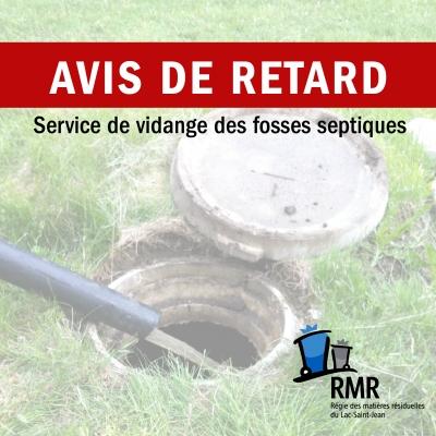Avis de retard - Service de vidange des fosses septiques