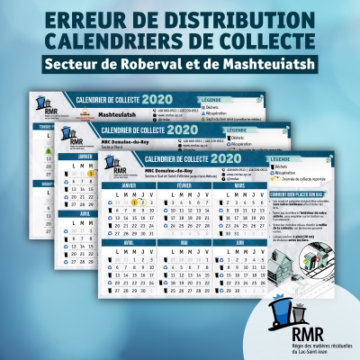 ERREUR DE DISTRIBUTION : CALENDRIERS DE COLLECTE 2020