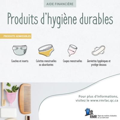 PROGRAMME D'AIDE FINANCIÈRE POUR LES PRODUITS D'HYGIÈNE DURABLES